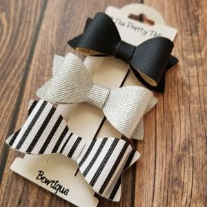 Hairbow Set, Black, Silver, Striped/ Alligator Cli